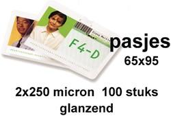 Lamineerhoes GBC overheids card 65x95mm 2x250micron 100stuks