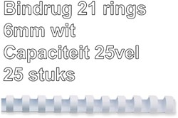 Bindrug GBC 6mm 21rings A4 wit 25stuks
