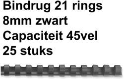 Bindrug GBC 8mm 21rings A4 zwart 25stuks