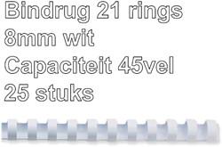 Bindrug Fellowes 8mm 21rings A4 wit 25stuks