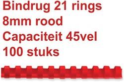 Bindrug Fellowes 8mm 21rings A4 rood 100stuks