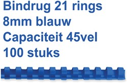Bindrug Fellowes 8mm 21rings A4 blauw 100stuks