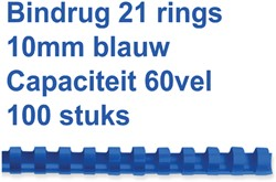 Bindrug Fellowes 10mm 21rings A4 blauw 100stuks