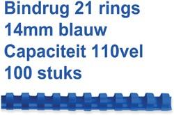 Bindrug GBC 14mm 21rings A4 blauw 100stuks