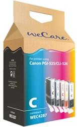 Inkcartridge Wecare Canon CLI-526 PGI-525 zwart + 3 kleuren