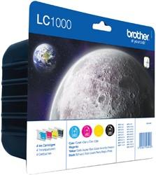 Inktcartridge Brother LC-1000VALBP zwart + 3 kleuren