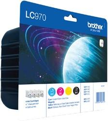 Inktcartridge Brother LC-970VALBP zwart + 3 kleuren