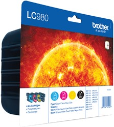 Inktcartridge Brother LC-980VALBP zwart + 3 kleuren