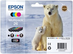 Inktcartridge Epson 26 T2616 zwart + 3 kleuren