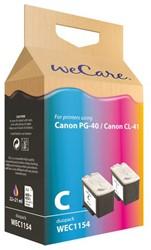 Inkcartridge Wecare Canon PG-40 CL-41 zwart + kleur
