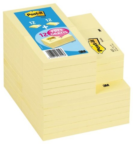 Memoblok 3M Post-it 654 en 655 + 12x653 gratis