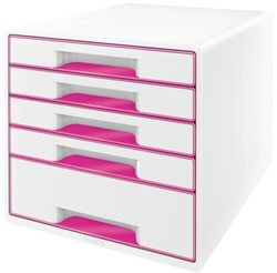 Ladenbox Leitz 5214 WOW 5 laden wit/roze