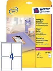 Etiket Avery L7769-40 99.1x139mm hoogglans wit 160stuks