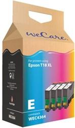Inkcartridge Wecare Epson T181640 zwart + 3 kleuren HC