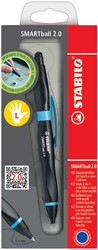 Balpen STABILO Smartball linkshandig zwart/cyaan blauw blister
