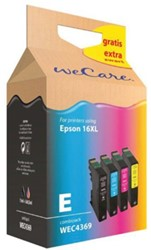 Inkcartridge Wecare Epson T163450 zwart + 3 kleuren HC