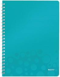 Notitieboek Leitz WOW A4 spiraal PP lijn ijsblauw