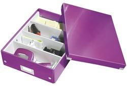 Opbergbox Leitz WOW Click & Store 280x100x370mm paars