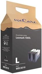 Inkcartridge Wecare Lexmark 14N1068 100XL  2x zwart