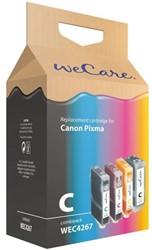 Inkcartridge Wecare Canon PGI-5 CLI-8 zwart + 3 kleuren