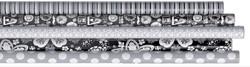 Inpakpapier Design Group 200x70cm zwart wit assorti