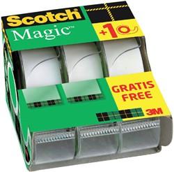 Plakband Scotch Magic 810 19mmx7.5m onzichtbaar mat 2+1 gratis + afroller