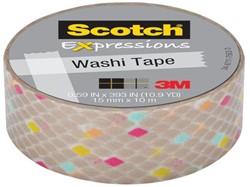 Plakband Scotch Expressions Washi 15mmx10m gold diamands