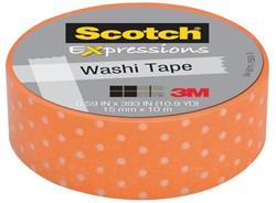 Plakband Scotch Expressions Washi 15mmx10m orange dots