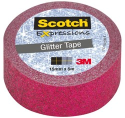 Plakband Scotch Expressions Glitter 15mmx5m pink
