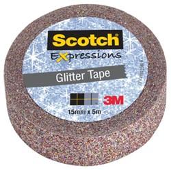Plakband Scotch Expressions Glitter 15mmx5m multicolor