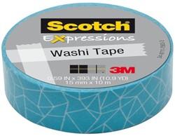 Plakband Scotch Expressions Washi 15mmx10m blue cracked