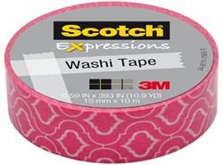 Plakband Scotch Expressions Washi 15mmx10m pink cracked