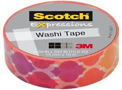 Plakband Scotch Expressions Washi 15mmx10m quatrefoil sunset