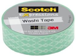 Plakband Scotch Expressions Washi 15mmx10m green cracked