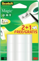 Plakband Scotch Magic 19mmx15m 2+1 gratis onzichtbaar