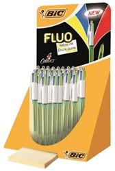 Balpen Bic 4kleuren fluo display à 18 stuks