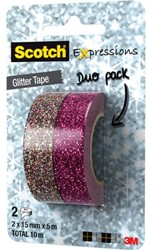 Plakband Scotch Expressions Glitter duopack pink/multicolor