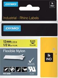 Labeltape Dymo Rhino 18490 nylon 12mmx3.5m zwart op geel