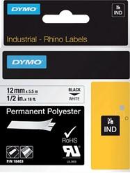 Labeltape Dymo Rhino 18483 polyester 12mmx5.5m zwart op wt