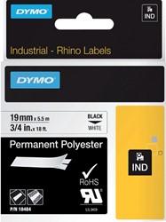 Labeltape Dymo Rhino 18484 polyester 19mmx5.5m zwart op wt