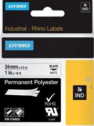 Labeltape Dymo Rhino 1734523 polyester 24mmx5.5m zwart op w