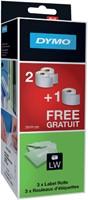 Etiket Dymo labelwriter 54x101mm 220stuks 2rol+1gratis