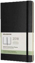 Agenda 2018 Moleskine 12 maanden 7 dag/2pag large hard zwart