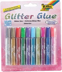 Glitterlijm Folia 9,5ml assorti blister à 10 stuks