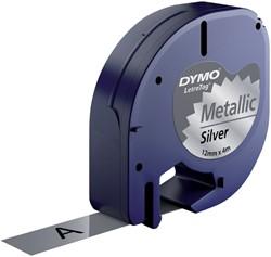 Labeltape Dymo Letratag 91208 metallic 12mm zwart op zilver