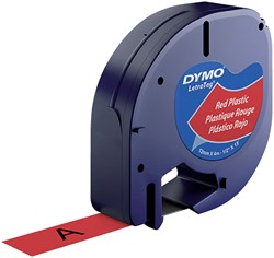 Labeltape Dymo Letratag 91203 plastic 12mm zwart op rood