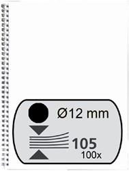 Draadrug Fellowes 12mm 34-rings A4 zwart 100stuks