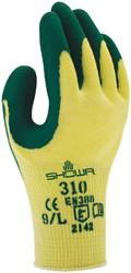 Handschoen Showa 310 grip latex groen/geel 9/large