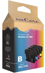 Inkcartridge Wecare Brother LC-980 zwart + 3 kleuren