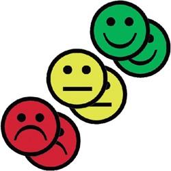 Magneet smiley 50mm 2x geel 2x groen 2x rood
